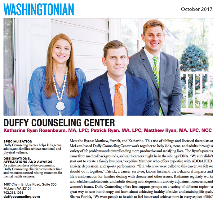 Duffy Counseling Center featured in Washingtonian Magazine